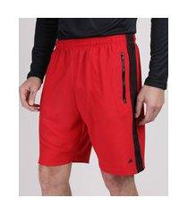 bermuda masculina esportiva ace com faixa lateral em tela vermelha
