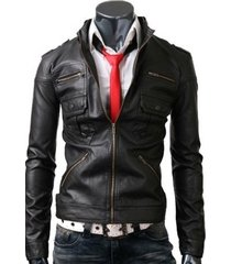 men zip pocket black leather jacket with six front pockets, mens leather jacket