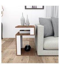 mesa de canto para sala 3 prateleiras appunto mes40015010 nogueira/branco