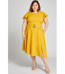 lane bryant women's lena dress with tortoise-print belt-buckle 16 tropical yellow