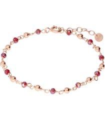 bracciale in argento rosato con boules e pietre rosse per donna
