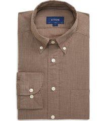 men's eton soft casual line slim fit flannel shirt, size 16.5 - brown