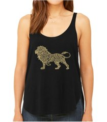 la pop art women's premium word art flowy tank top- lion