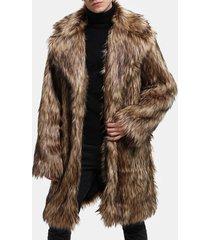 trench da uomo in ecopelliccia con collo invernale a metà manica lunga giacca casual