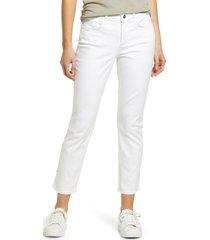 women's nydj sheri rivet side slit slim ankle jeans, size 8 - white