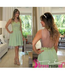 charming a line scoop mint chiffon short homecoming dress prom gown party dress