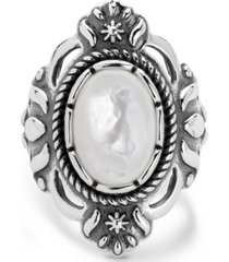 american west classics white mother of pearl ring in sterling silver
