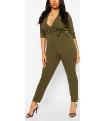 plus wrap belted tailored jumpsuit, khaki