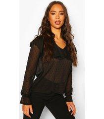 dobby mesh chiffon frill blouse, black