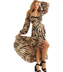 vestido ls zebra meadows maxi café guess