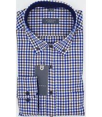 eterna heren overhemd en bruin herringbone geruit button-down comfort fit blauw