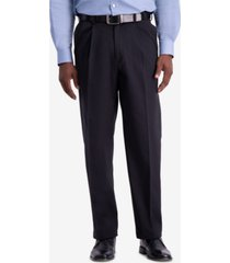 haggar men's w2w pro relaxed-fit performance stretch non-iron pleated casual pants