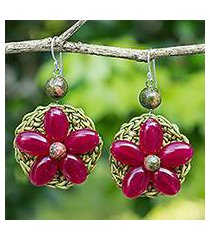 beaded flower earrings, 'pink blossoming rhyme' (thailand)