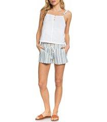 women's roxy oceanside drawstring shorts, size large - blue