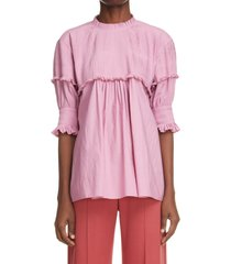 chloe pintuck pleated blouse, size 6 us in velvety pink 6r9 at nordstrom