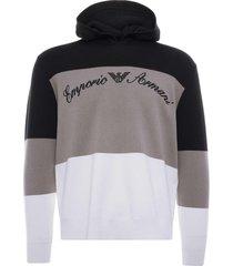 emporio armani hooded silk blend colour-blocked sweater | multi | 3k1mxm-1mzzz