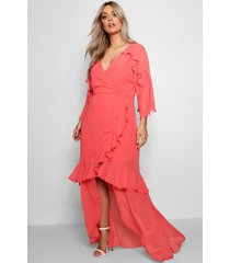 plus chiffon ruffle maxi dress, coral