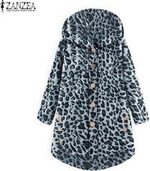 zanzea abrigo de túnica con capucha y estampado de leopardo suelto de primavera para mujer -gris