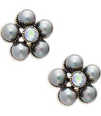evening floral stud earrings