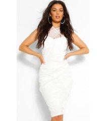 aan de voorkant gekruiste midi-jurk met meshdetail, wit