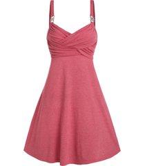 rhinestone buckle heathered crossover flare dress
