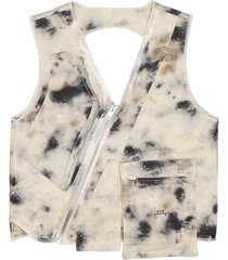 diesel stained print utility vest
