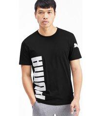 big logo graphic heren-t-shirt met korte mouwen, zwart, maat xl   puma