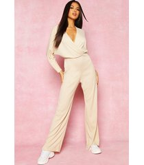 recycled plunge wide leg rib jumpsuit, stone