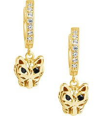 14k goldplated sterling silver & cubic zirconia panther huggie earrings
