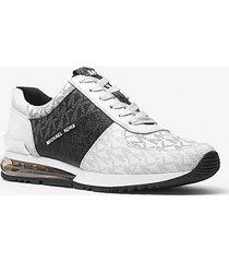 mk sneaker allieextreme in pelle color block con logo - bianco/nero (bianco) - michael kors