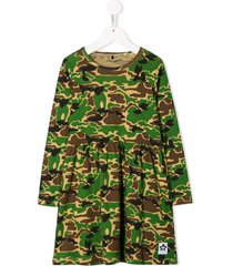 mini rodini organic cotton camouflage print dress - green