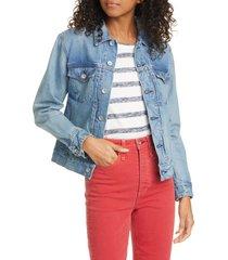 women's rag & bone shrunken denim trucker jacket, size x-small - blue