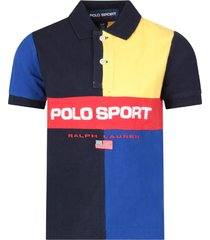 ralph lauren color block boy polo shirt with red logo