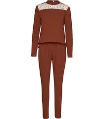 kaninna fabric ls jumpsuit jumpsuit brun kaffe