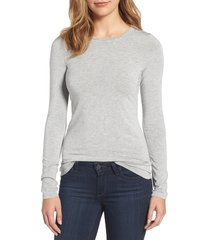 women's halogen long sleeve modal blend tee, size small - grey