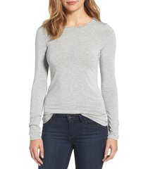 women's halogen long sleeve modal blend tee, size large - grey