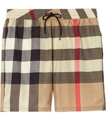 burberry check drawcord swim shorts - neutrals