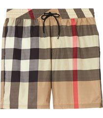 burberry check drawcord swim shorts - neutrals
