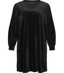 dress long plus puff sleeves velour v-neck kort klänning svart zizzi