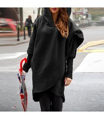 s-5xl zanzea mujeres con capucha tops con capucha bolsillos asimétrico sudaderas con capucha negro -negro