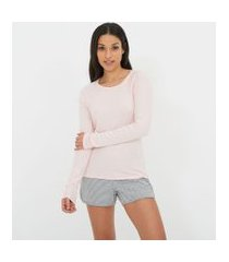 blusa de pijama manga longa lisa em ribana | lov | rosa | p