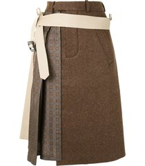 maison margiela trench detail a-line skirt - brown