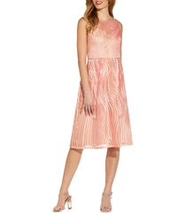 women's adrianna papell ribbon embroidery sleeveless fit & flare cocktail dress, size 12 - pink