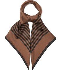 striped-border silk-twill scarf