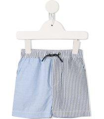 velveteen logan panelled seersucker shorts - blue