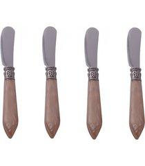 conjunto de 4 espátulas em aço inox kenya nude