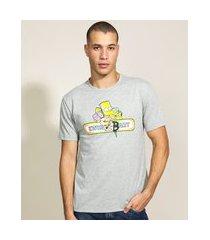 camiseta masculina bart simpson manga curta gola careca cinza mescla claro