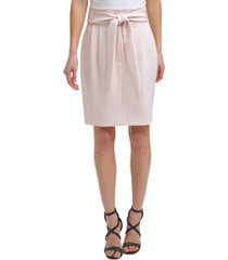 dkny petite high-rise tie-waist skirt