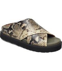 embossed snake shoes summer shoes flat sandals brun ganni