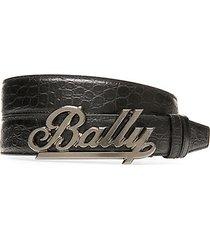 bally swoosh croc-embossed leather belt